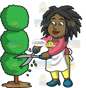 Lisa Trimming A Tree Into Circular Shapes. A black woman wearing yellow pants, a long sleeve pink shirt, a white apron, and blue shoes, using a pair of hedge clippers to trim and shape a tree