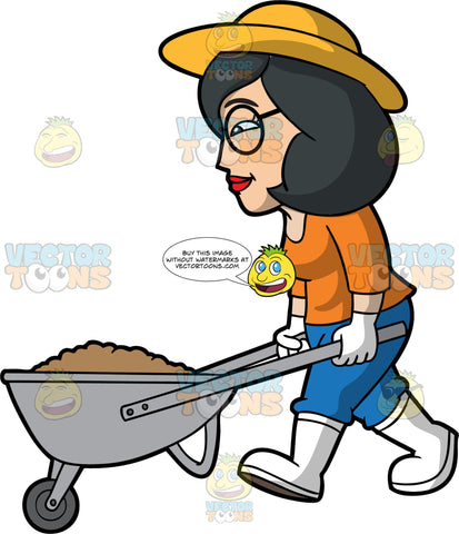 Lynn Pushing A Wheelbarrow Filled With Dirt. An Asian woman with shoulder length black hair, wearing blue pants, an orange shirt, white rubber boots, a yellow sun hat, white gardening gloves, and round eyeglasses, pushing a metal wheelbarrow full of dirt