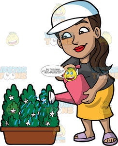 Isabella Watering A Potted Plant. A woman with light brown skin, and dark brown hair tied in a low ponytail, wearing a yellow skirt, a dark gray t-shirt, lavender sandles, and a white hat, watering a potted shrub with the pink watering can in her hands