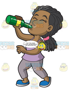 A Black Woman Chugging A Bottle Of Wine