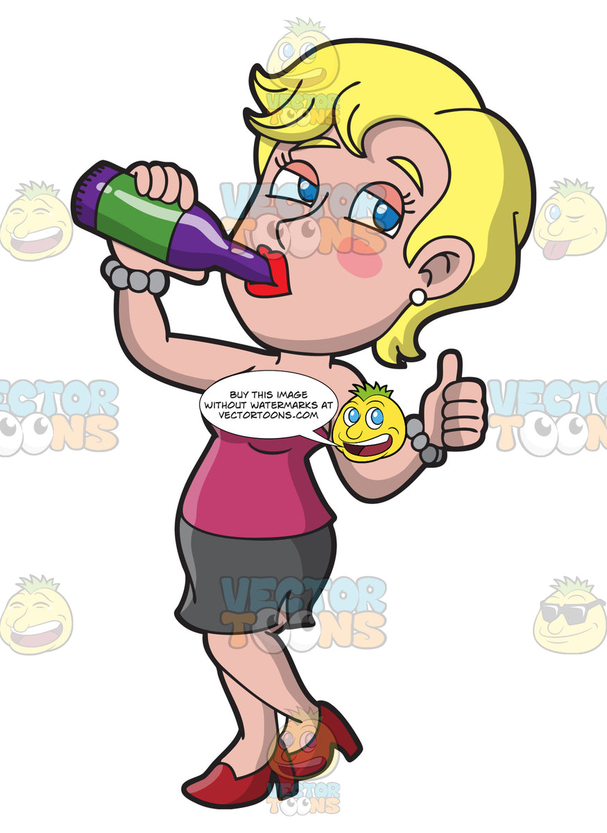 A Drunk Woman Chugging A Bottle Of Beer – Clipart Cartoons ...
