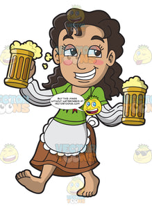 A Drunk Woman Carrying Mugs Of Beer