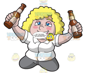 A Drunk Woman Raising Bottles Of Beer