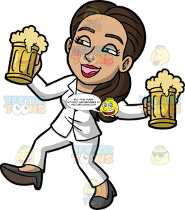 Isabella Drunkenly Carrying Two Mugs Of Beer. A drunk Hispanic woman wearing a white pant suit, and dark gray high heels, sloppily walking and carrying two mugs filled with beer