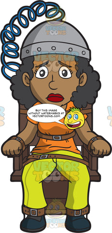 A Black Woman Sitting On An Electric Chair
