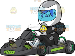 A Woman Ready To Race Her Go-Kart. A woman wearing a white full face helmet, black racing suit, white boots and white driving gloves, sits in her black and green go-kart waiting for her race to start