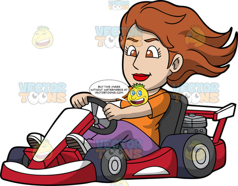 A Woman Driving A Red And White Go-Kart. A woman with brown hair and eyes, wearing an orange shirt, purple pants and white shoes, having fun racing around on a red and white go-kart