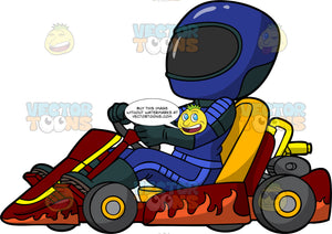 A Female Go-Kart Racer . A woman dressed in a blue racing suit, black boots, and blue full face helmet, getting ready to race her dark red go-kart
