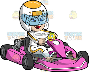 A Woman Racing A Bright Pink Go-Kart. A woman wearing a white and yellow helmet and racing suit, holding onto the steering wheel of her pink go-kart