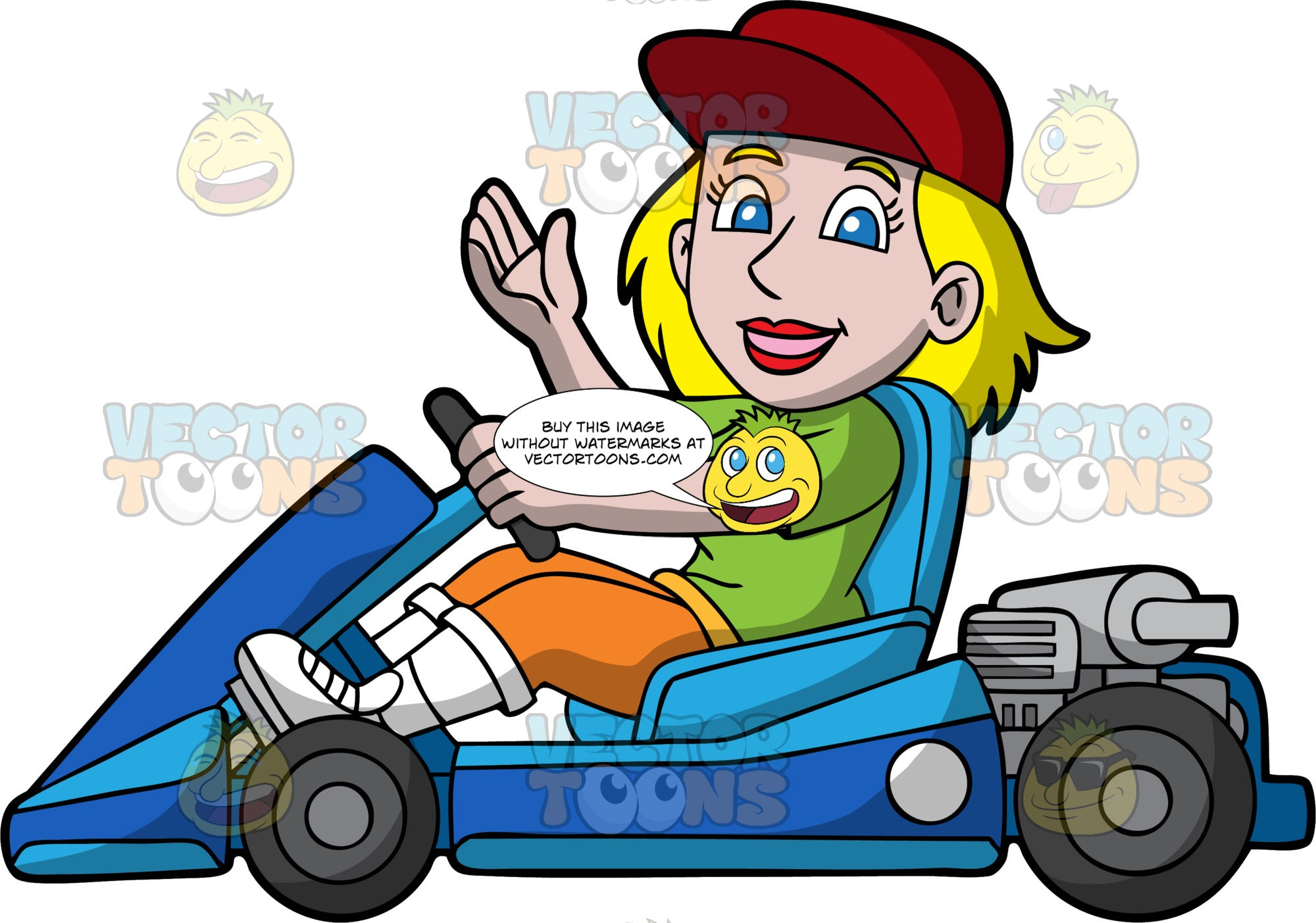 A Blonde Woman Driving A Blue Go-Kart. A woman with blonde hair and blue eyes, wearing a green shirt, orange pants, white boots and a red hat, waves with one hand as she holds onto the wheel of her go-kart with the other hand