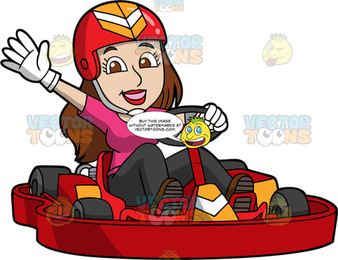 A Woman Waving As She Drives A Red Go-Kart. A woman wearing a red helmet, orange an white helmet, pink shirt, black pants and white gloves, waves one hand as she steers a red go-kart with the other hand