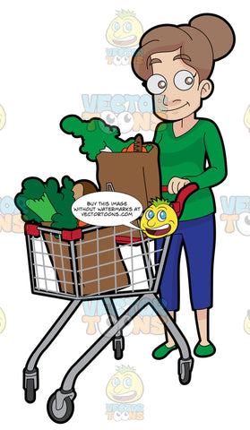 A Woman Pushing A Grocery Cart Full Of Vegetables That She Bought