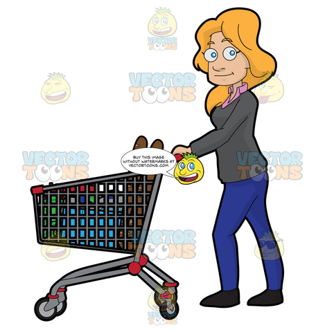 A Woman Shopping For Food In The Grocery Store