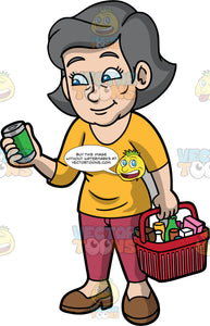 Mary Checking The Ingredients Of A Can Of Food. A mature woman with gray hair and blue eyes, wearing rose colored pants, a mustard yellow shirt, and brown shoes, holding a basket filled with groceries in one hand, while reading the label of a can of food in the other