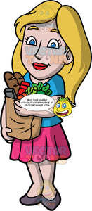Stacey Carrying A Bag Of Groceries. A woman with dirty blonde hair, and blue eyes, wearing a pink skirt, a blue shirt, and dark gray shoes, carrying a paper bag filled with a variety of groceries