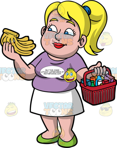 Pat Inspecting Bananas While Grocery Shopping. A woman with blonde hair tied up in a ponytail, wearing a white skirt, a purple shirt, and green shoes, holding a basket of groceries in one hand, and a bunch of bananas in the other