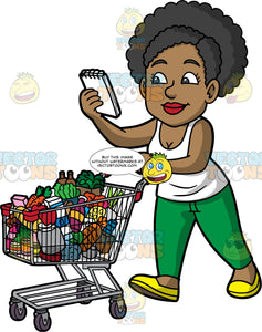Jackie Pushing A Grocery Cart Filled With Food. A black woman wearing green pants, a white tank top, and yellow shoes, pushing a grocery cart filled with various groceries and checking her grocery list as she walks