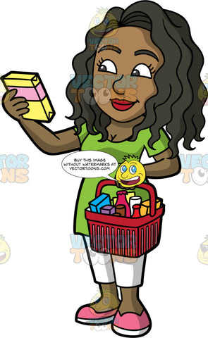 Maggie Checking The Ingredients Of A Box Of Packaged Food. A black woman with long, wavy hair, wearing white pants, a long green shirt, and pink shoes, holding a grocery basket in one hand, while checking the ingredients of a box of food in the other hand