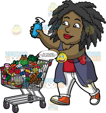 Lisa Putting A Bottle Of Cleaner In Her Grocery Cart. A black woman wearing white pants, a long purple vest over a red shirt, and orange and white sneakers, pushing a grocery cart filled with various products with one hand, and holding a bottle of cleaner in the other hand