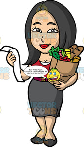 Connie Carrying A Bag Of Groceries. An Asian woman with black hair, wearing a knee length gray skirt, a red shirt, a red belt, and black shoes, holding a paper bag filled with various groceries in one hand, and her receipt in the other