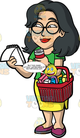 Lynn Shopping For Groceries. An Asian woman with black hair, wearing a yellow skirt, a green shirt, and grape colored shoes, holding a basked filled with groceries over one arm, and holding a can in that hand, while holding a grocery list in the other