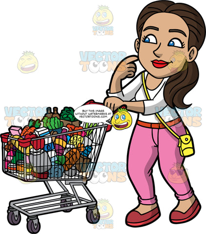 Isabella Pushing A Grocery Cart Filled With Food. A Hispanic woman with dark brown hair and blue eyes, wearing pink pants, a white shirt, and a yellow purse, pushing a grocery cart filled with a variety of products and thinking about what else she might need to buy