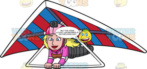 A Blonde Woman Flying Through The Air On A Hang Glider. A woman with blonde hair, wearing a pink helmet with a camera attached to it, glides through the air on her red and blue striped hang glider