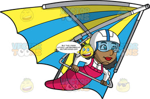 A Black Woman Soaring Around In A Blue And Yellow Hang Glider. A black woman wearing a white helmet, eye goggles and a white jumpsuit, soars through the skies on a blue and yellow striped hang glider