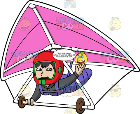 A Woman Waving As She Pilots A Pink Hang Glider. A woman wearing a full face red helmet, strapped into a pink hang glider, waves one hand while the other holds onto the bar of the glider