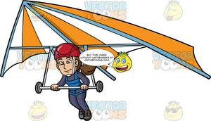 A Woman About To Land Her Hang Glider. A woman wearing a red helmet and dark blue jumpsuit, lowers her legs as she gets prepared to set down her orange and white hang glider