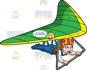 A Woman Holds On Tight As She Steers A Green and Yellow Hang Glider. A woman strapped into a green and yellow hang glider, holds onto the bar of the glider as she soars through the skies