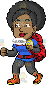 Jackie Enjoying A Hike. A black woman wearing gray leggings, a blue t-shirt over a long sleeve gray shirt, orange walking shoes, and a red backpack, going for a hike on a spring day
