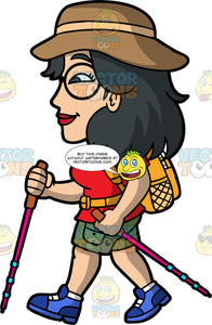 Lynn Going On A Hike . An Asian woman wearing army green shorts, a red t-shirt, blue hiking boots, a brown sun hat, round eyeglasses, and an orange backpack, holding walking poles in both hands as she hikes along a trail
