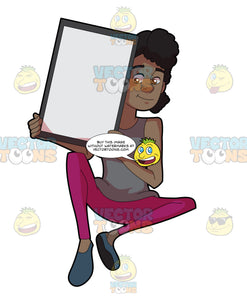 A Black Woman Holding A Signboard