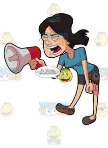 A Woman Shouting Angrily Using A Megaphone