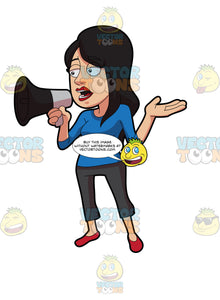 A Woman Voicing Out Her Concern Using A Megaphone