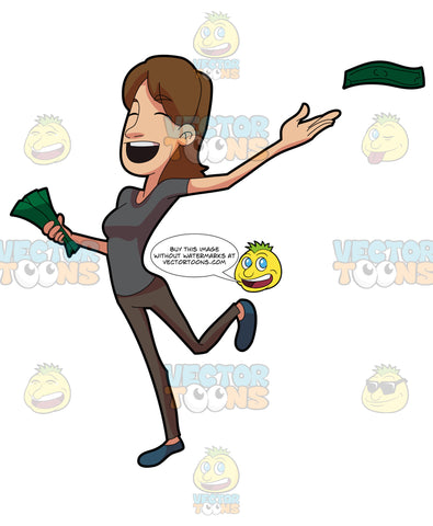 A Joyous Woman Giving Away Money