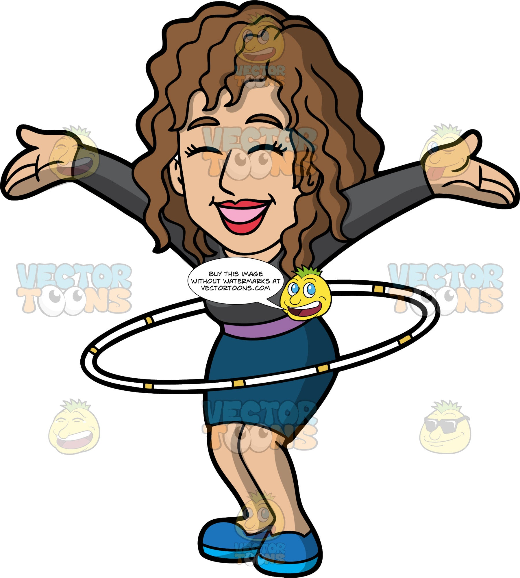 A Joyful Woman Twirling A Hula Hoop. A woman with brown hair, wearing a black long sleeve blouse, dark teal skirt, purple belt, blue shoes, shuts her eyes and smiles in delight, as she raises her arms sideways while twirling a white with yellow hula hoop around her waist