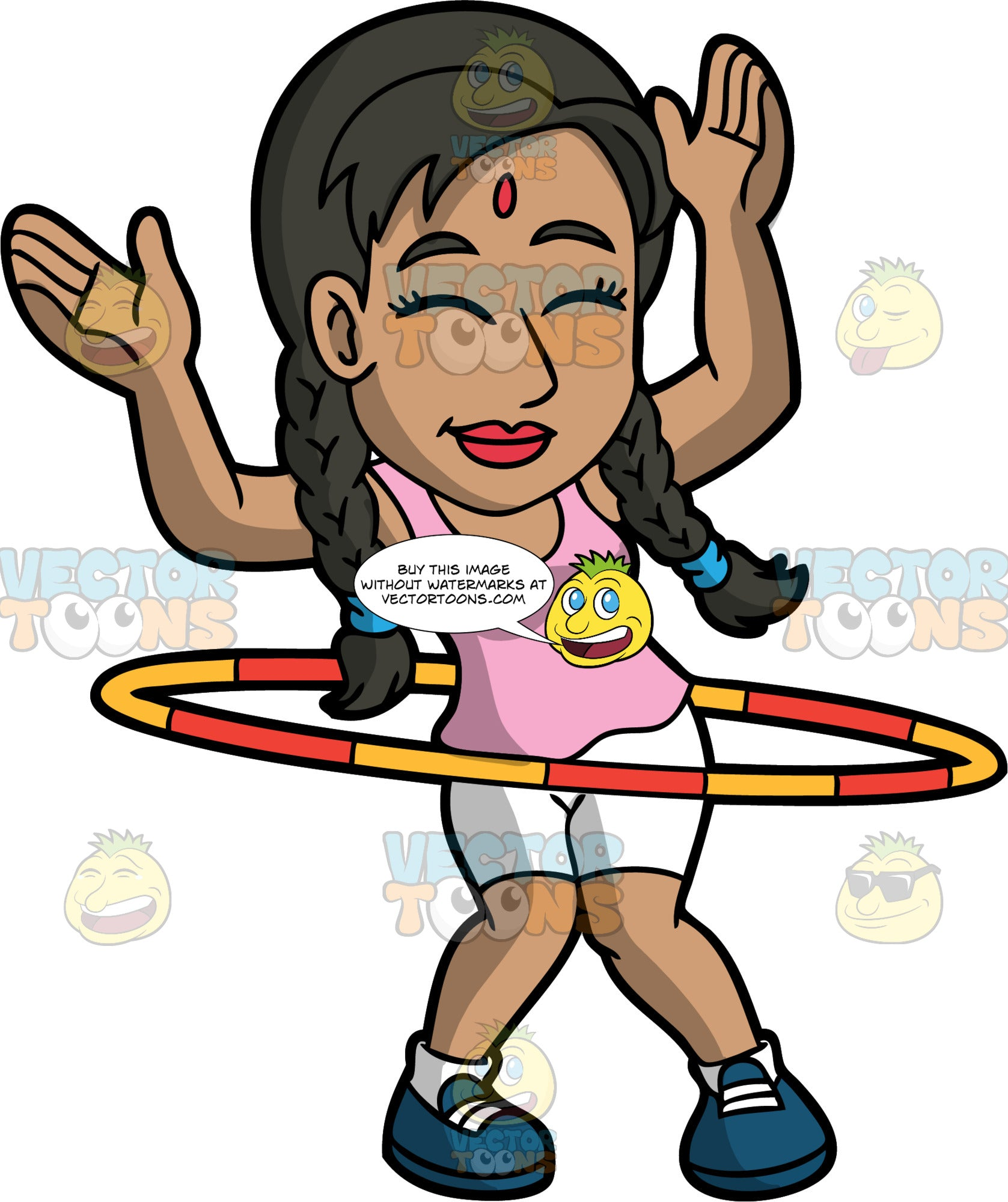 An Indian Woman Twirling A Hula Hoop. An Indian woman with a red mark on her forehead, black hair tied in braided pigtails, wearing a pink tank top, white shorts, socks, teal shoes, shuts her eyes and smiles in delight while raising her hands up as she twirls a yellow and red hula hoop around her waist