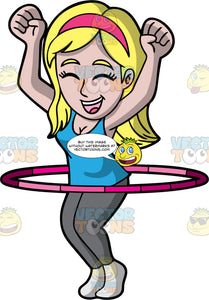 A Cheerful Woman Twirling A Hula Hoop. A woman with blonde hair, wearing a pink headband, blue tank top, gray leggings, light gray socks, shuts her eyes and smiles in delight, as she lifts her hands up in the air while twirling a red and pink tone hula hoop around her waist