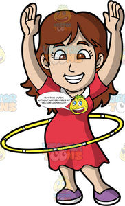 A Giddy Woman Twirling A Hula Hoop. A woman with brown hair, wearing a red dress with a purple shoes, grins and lifts her hands up while twirling a hula hoop around her waist