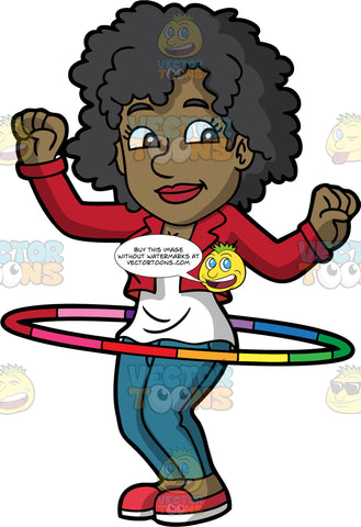 A Groovy Black Woman Twirling A Hula Hoop. A black woman with curly hair, wearing a red jacket, white tank top, teal pants, red shoes, smiles while raising her hands as she twirls a rainbow colored hula hoop around her waist