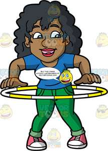 A Black Woman Twirling A Hula Hoop. A black woman with curly hair, wearing a blue shirt, green pants, pink with white sneakers, smiles while twirling a yellow with white hula hoop around her waist