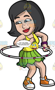 A Sexy Woman Twirling A Hula Hoop. A woman with black hair, wearing a yellow tank top, green skirt, orange with white sneakers, violet bracelets, smirks while twirling a white with pink hula hoop around her waist