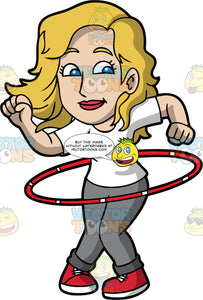 A Pretty Woman Twirling A Hula Hoop. A woman with blonde hair, wearing a white shirt, gray pants, red with white sneakers, smiles while twirling a red with white hula hoop around her waist