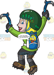 A Happy Ice Climbing Woman