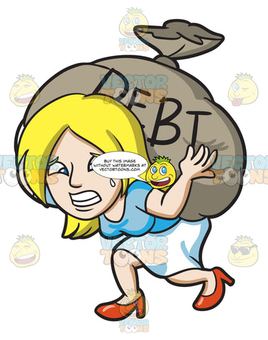 A Woman Carrying A Heavy Sack Of Debt