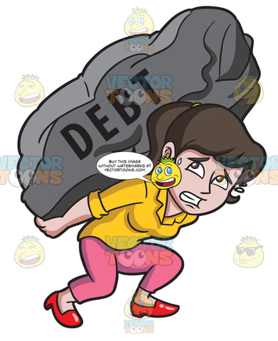 A Woman Carrying A Huge Rock Of Debt