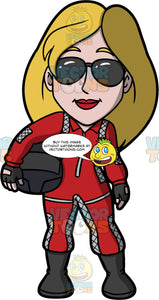 Stacey Dressed Up As A Race Car Driver. A woman wearing a red racing suit, black boots, and black sunglasses, standing and holding a black full face helmet under her arm
