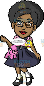 Jackie Dressed Up In A 1950s Sock Hop Costume. A black woman wearing a dark blue circle skirt, a pink shirt, a dark blue handkerchief tied around her neck, white socks, black high heels, cat eye glasses, and a pink poodle skirt
